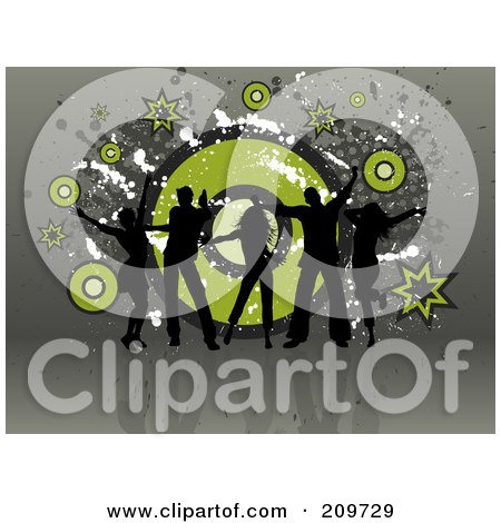 Royalty-Free (RF) Clipart Illustration of Five Black Silhouetted Dancers Over A Grungy Green And Gray Background by KJ Pargeter