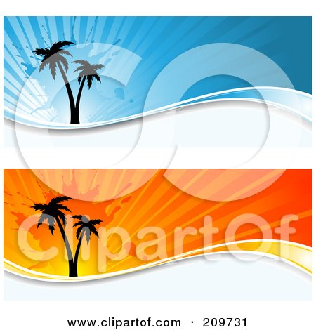 Royalty-Free (RF) Clipart Illustration of a Digital Collage Of Two Orange And Blue Grungy Palm Tree Website Headers by KJ Pargeter