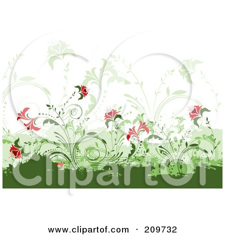 Royalty-Free (RF) Clipart Illustration of a Background Of Red Flowers And Vines Over Green Grunge Marks On White by KJ Pargeter