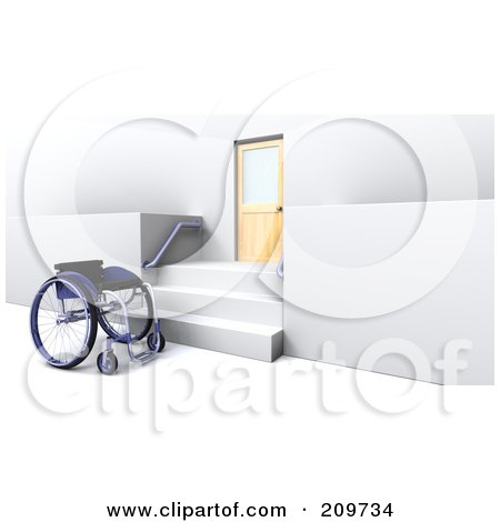 Royalty-Free (RF) Clipart Illustration of a 3d Wheelchair By Stairs And A Door by KJ Pargeter