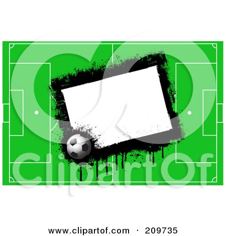 Royalty-Free (RF) Clipart Illustration of a Grungy White Box With A Soccer Ball And Field by KJ Pargeter