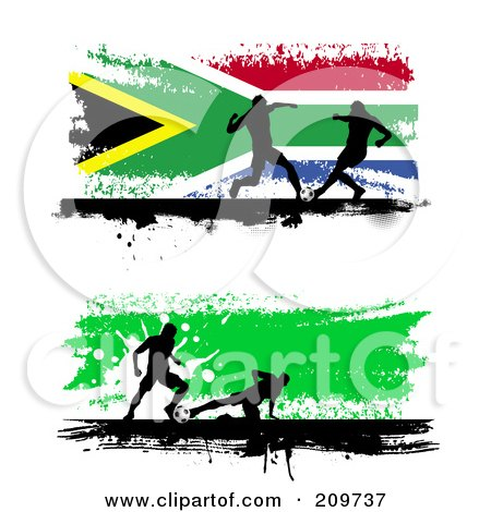 Royalty-Free (RF) Clipart Illustration of a Digital Collage Of Two Grungy Soccer Website Banners With Silhouetted Players by KJ Pargeter