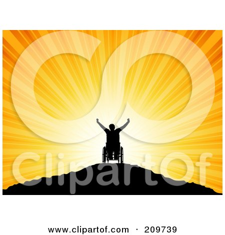 Royalty-Free (RF) Clipart Illustration of a Silhouetted Handicap Man In A Wheelchair, Holding His Arms Up Atop A Mountain At Sunset by KJ Pargeter