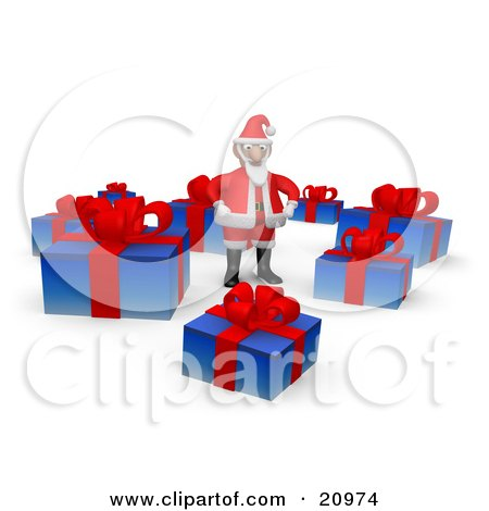 Clipart Illustration of Santa Standing In A Circle Of Christmas Gifts With Red Ribbons And Bows by 3poD
