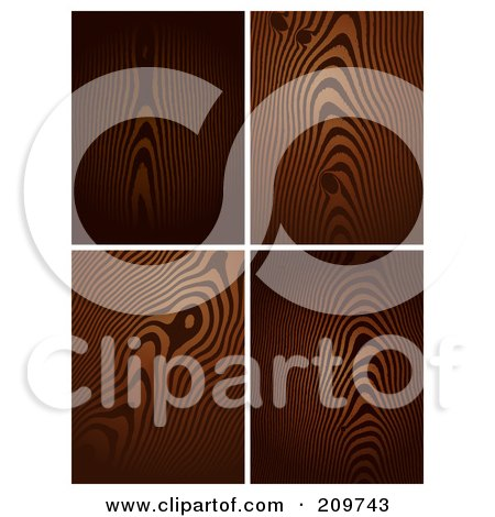 Royalty-Free (RF) Clipart Illustration of a Digital Collage Of Four Dark Wood Grain Patterns by KJ Pargeter