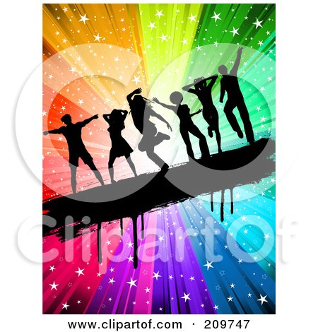 Royalty-Free (RF) Clipart Illustration of Black Silhouetted People Dancing On A Grungy Bar Over A Rainbow Starry Burst by KJ Pargeter