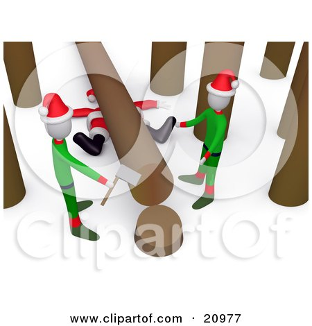 Santa Squished Under A Tree Trunk While Two Elves Try To Chop Down Trees Posters, Art Prints