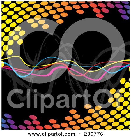 Royalty-Free (RF) Clipart Illustration of Neon Squiggly Lines Over A Colorful Halftone Equalizer On Black by Arena Creative