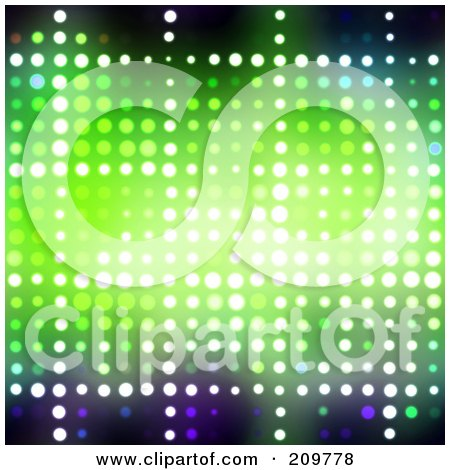 Royalty-Free (RF) Clipart Illustration of a Sparkly Green Halftone Background by Arena Creative