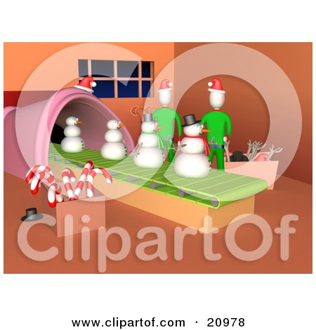 Two Elves Working In Santa's Workshop, Making Snowmen On A Production Line. Posters, Art Prints