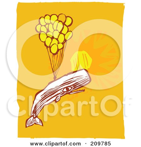 Royalty-Free (RF) Clipart Illustration of a Whale Floating With Balloons In A Sunny Sky by xunantunich