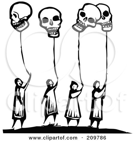 Royalty-Free (RF) Clipart Illustration of a Group Of Black And White People Holding Onto Skull Balloons by xunantunich