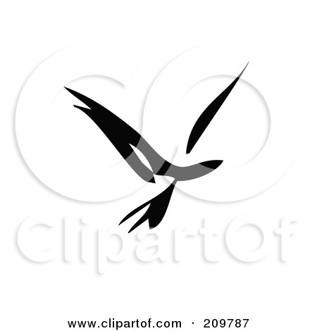 Royalty-Free (RF) Clipart Illustration of a Black And White Abstract Bird In Flight by xunantunich