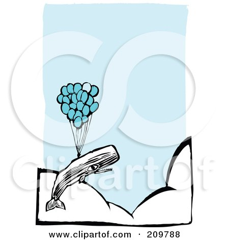 Royalty-Free (RF) Clipart Illustration of a Whale Floating Above The Clouds With A Bunch Of Balloons by xunantunich