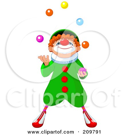 Royalty-Free (RF) Clipart Illustration of a Cute Party Clown Looking Up And Juggling by Pushkin