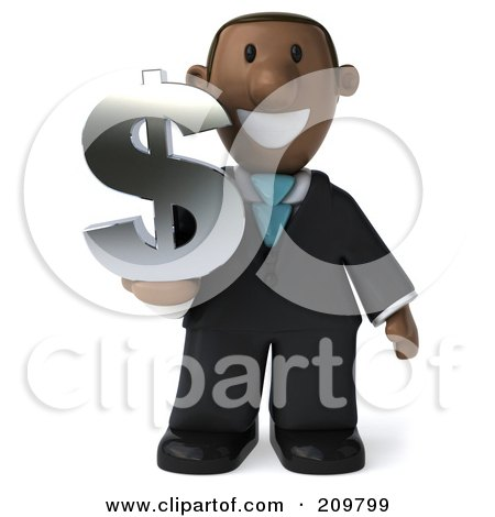 Royalty-Free (RF) Clipart Illustration of a 3d Black Business Man Holding A Dollar Symbol And Facing Front by Julos