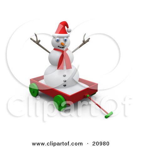 Clipart Illustration of a Playful Snowman Wearing A Red Scarf And Santa Hat, Riding In A Red Wagon by 3poD