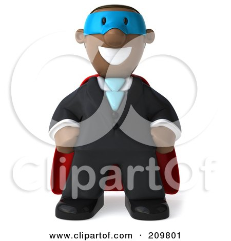 Royalty-Free (RF) Clipart Illustration of a 3d Black Business Man Super Hero Facing Front by Julos