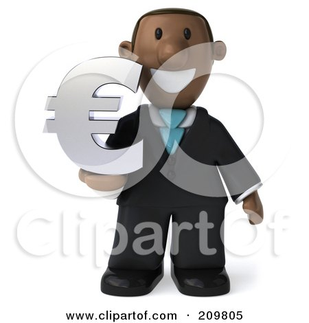 Royalty-Free (RF) Clipart Illustration of a 3d Black Business Man Holding A Euro Symbol And Facing Front by Julos