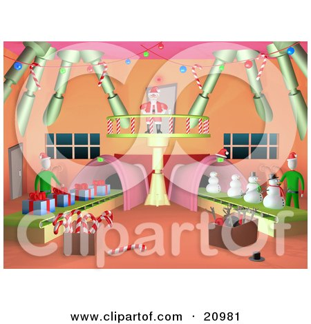 Clipart Illustration of Santa Standing On A Balcony, Watching Elves Work On Production Lines by 3poD
