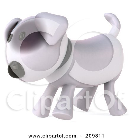 Royalty-Free (RF) Clipart Illustration of a 3d Bull Terrier Dog Walking Left by Julos