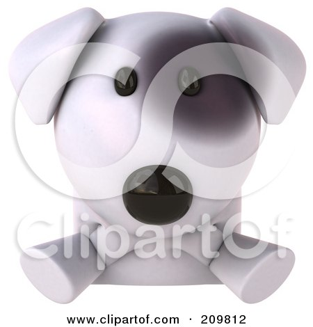 Royalty-Free (RF) Clipart Illustration of a 3d Bull Terrier Dog Looking Up Over A Blank Sign by Julos