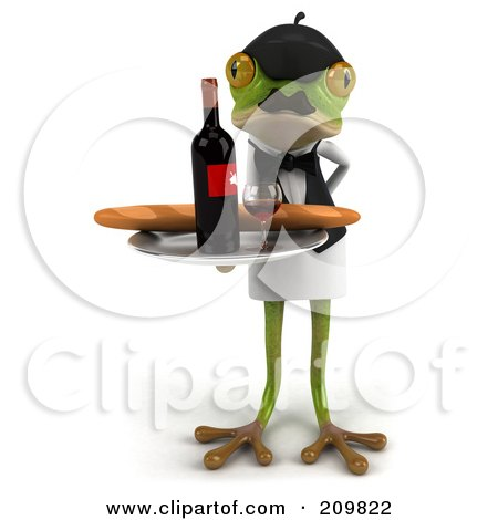 Royalty-Free (RF) Clipart Illustration of a 3d French Frog Serving Wine And Bread by Julos