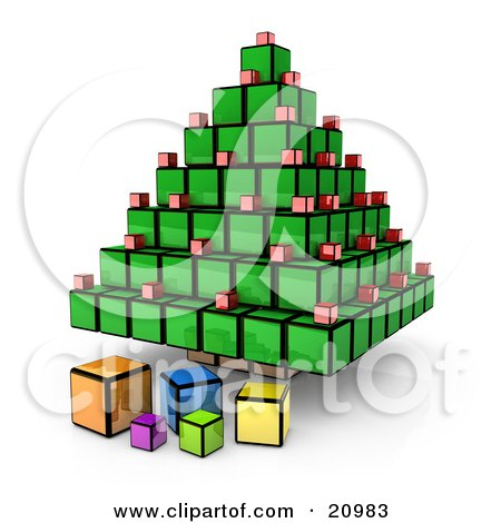 Futuristic Christmas Tree And Presents Made Of Cubes Posters, Art Prints