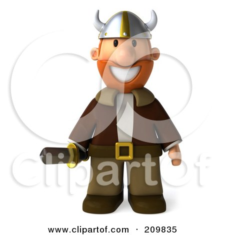 Royalty-Free (RF) Clipart Illustration of a 3d Young Viking Facing Front And Holding A Sword by Julos