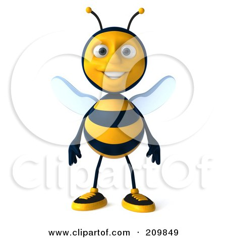 3d Bee Character Standing And Facing Front Posters, Art Prints