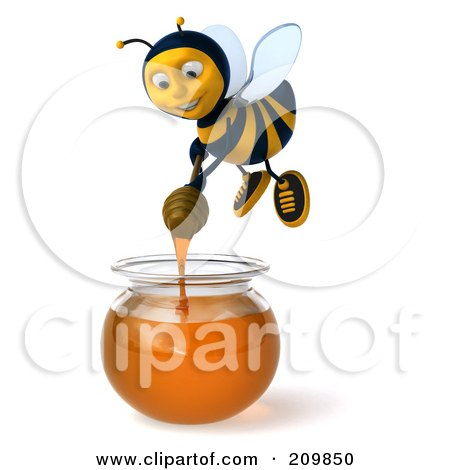 3d Bee Character Dipping A Honey Wand In A Bowl Of Honey Posters, Art Prints