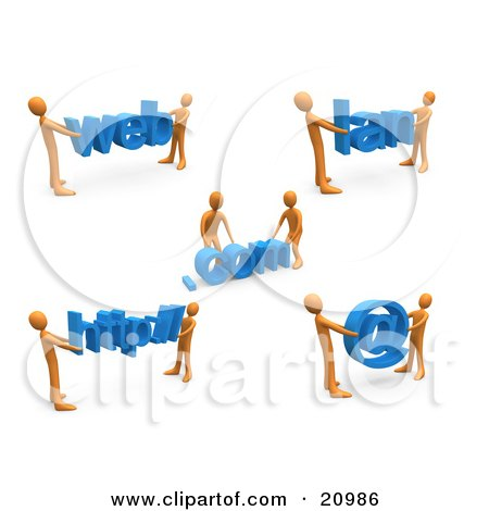 Clipart Illustration of a Construction Zone Of Orange Men Carrying Web, Com, Lan, Http And An Email Symbol. by 3poD
