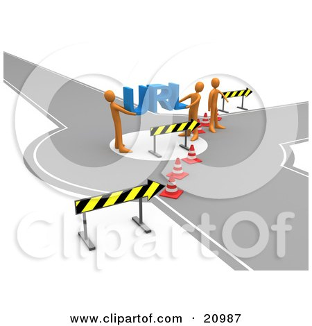 Clipart Illustration of a Construction Zone Of Orange Men Carrying Url Across A Road Block by 3poD