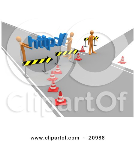 Clipart Illustration of a Construction Zone Of Orange Men Carrying Http Across A Road Block by 3poD