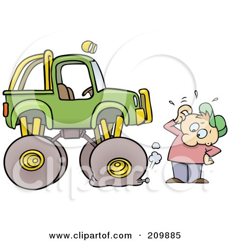 Royalty-Free (RF) Clipart Illustration of a Toon Guy With A Nail In His Monster Truck's Tire by gnurf