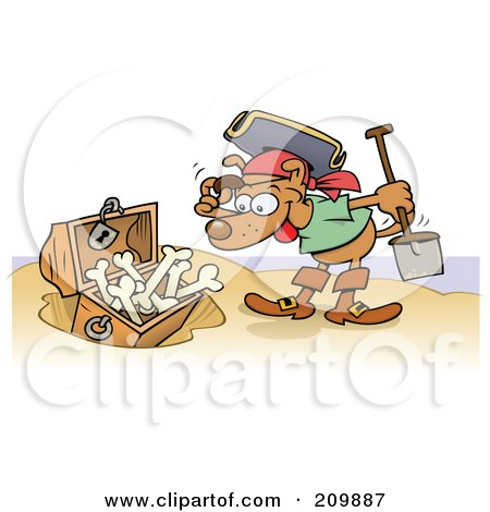 Royalty Free RF Clipart Illustration Of A Happy Pirate Dog Discovering A Buried Treasure Chest Of Bones On A Beach