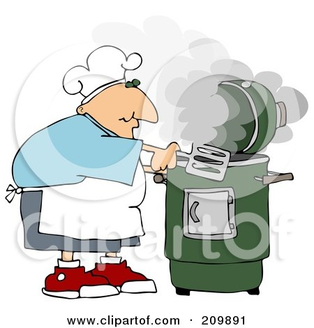 Royalty-Free (RF) Clipart Illustration of a Caucasian Man Cooking With A Green Smoker by djart