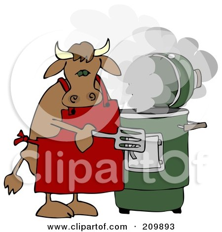 Royalty-Free (RF) Clipart Illustration of a Bull Cooking With A Green Smoker by djart