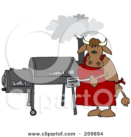 Royalty-Free (RF) Clipart Illustration of a Bull Cooking On A BBQ Smoker by djart