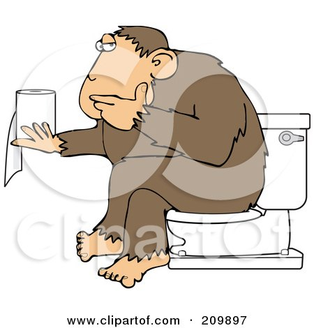 Royalty-Free (RF) Clipart Illustration of an Ape Sitting On A Toilet And Pondering Over Toilet Paper by djart
