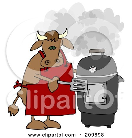 Royalty-Free (RF) Clipart Illustration of a Bull Cooking On A Black Smoker by djart