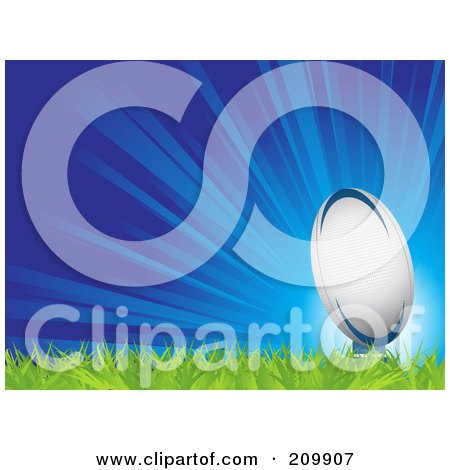 Royalty-Free (RF) Clipart Illustration of a Bursting Blue Background With A Rugby Ball On Grass by elaineitalia