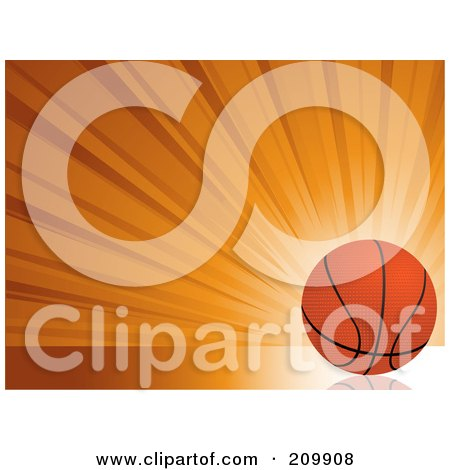 Bursting Orange Background With A Basketball Posters, Art Prints