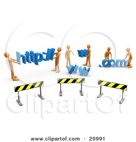 Clipart Illustration of a Construction Zone Of Orange Men Carrying Http, Www, And Com Letters by 3poD