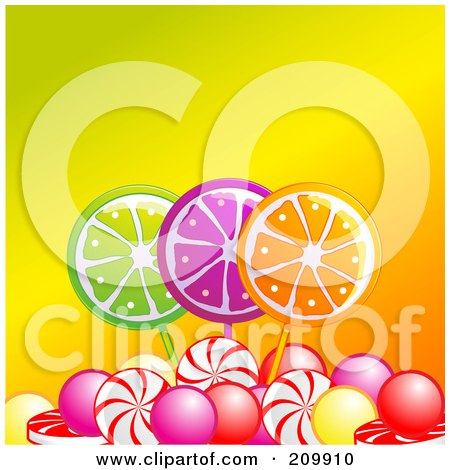 Royalty-Free (RF) Clipart Illustration of Fruity Lolipops And Candies Over Orange by elaineitalia