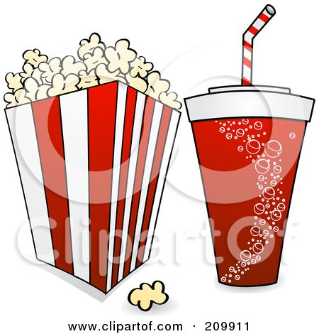 Royalty-Free (RF) Clipart Illustration of a Fountain Soda And Bucket Of Popcorn With A Film Reel by elaineitalia