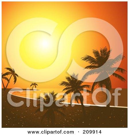 Royalty-Free (RF) Clipart Illustration of an Orange Sunset Sky Silhouetting A Tropical Beach With Palm Trees by elaineitalia