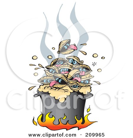 Royalty-Free (RF) Clipart Illustration of a Pile Of Hot Clams Cooking In A Pot Over Flames by Dennis Holmes Designs