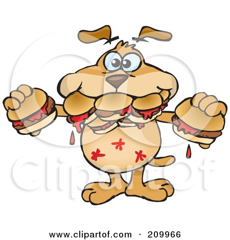Royalty-Free (RF) Clipart Illustration of a Hungry Sparkey Dog Shoving Hamburgers In His Mouth by Dennis Holmes Designs