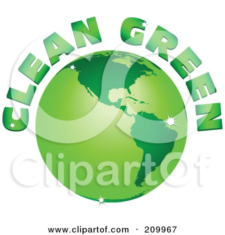 Royalty-Free (RF) Clipart Illustration of Clean Green Text Arching Around A Green Sparkly Globe by tdoes